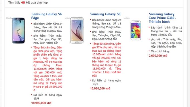 Samsung Galaxy S6 có giá từ 17 triệu tại Việt Nam