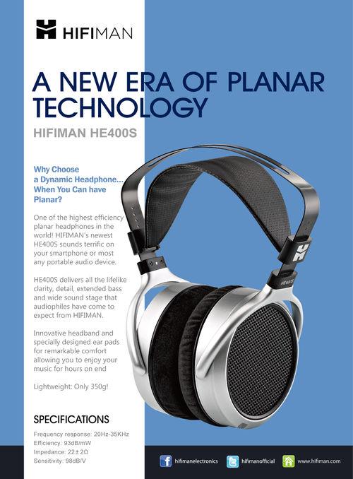 HiFiMan giới thiệu tai nghe từ phẳng HE400s giá 300 USD