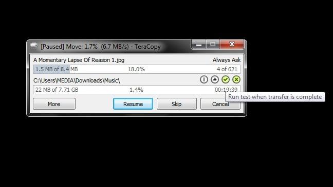 TeraCopy – copy nhạc nhanh hơn, đảm bảo chính xác