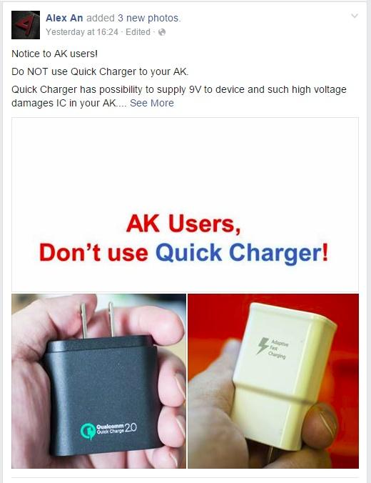 """Astell & Kern: """"không dùng sạc QuickCharge cho máy nghe nhạc AK"""""""