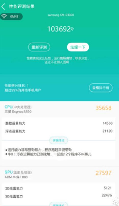 Galaxy S7 đạt hơn 100.000 điểm AnTuTu?