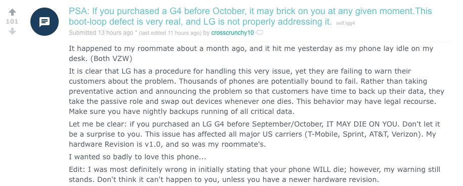 Bài viết cảnh báo về lỗi của LG G4 trên Reddit.