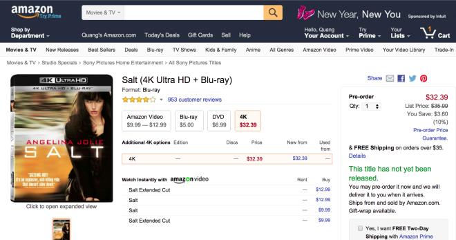 Amazon cho đặt hàng đĩa Ultra HD Bluray, giao hàng từ 1/3