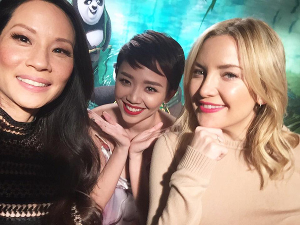 """Tóc Tiên giao lưu cực vui vẻ với dàn sao """"Kung Fu Panda 3"""""""