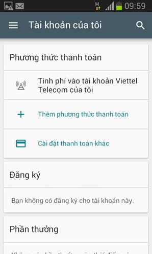 Thuê bao Viettel đã có thể mua ứng dụng Android bằng tài khoản điện thoại