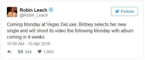 Britney Spears bất ngờ tiết lộ thông tin album mới