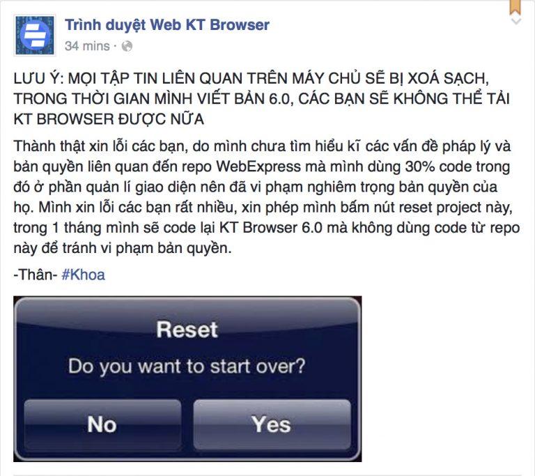 Trình duyệt thuần Việt của nam sinh 15 tuổi bị gỡ bỏ vì bản quyền