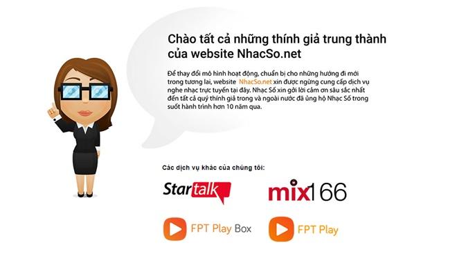 Sau 10 năm, website Nhacso.net đã bị FPT đóng cửa
