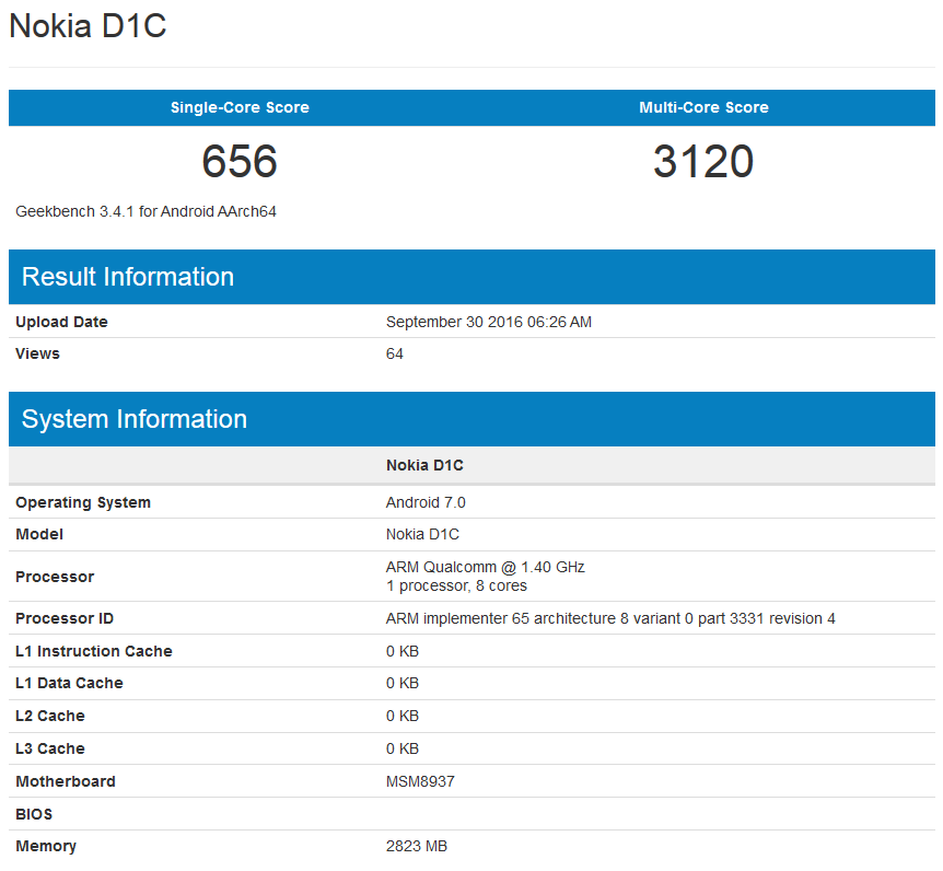 Nokia D1C sắp ra mắt với RAM 3GB và Android 7.0 Nougat