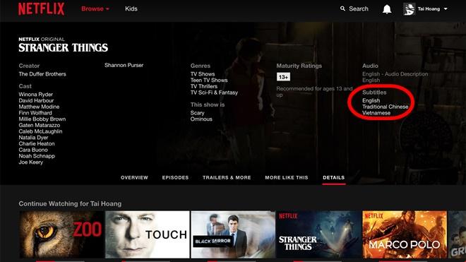 Netflix đã bắt đầu hỗ trợ phim có sub lời dịch tiếng Việt