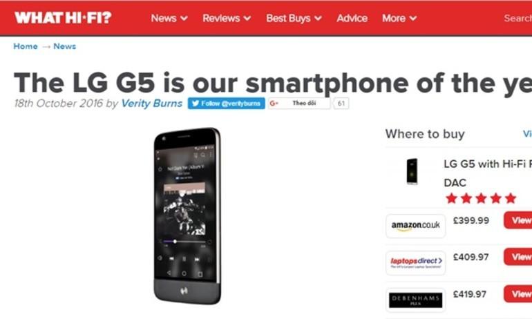 What Hi-Fi: LG G5 là smartphone tốt nhất năm 2016