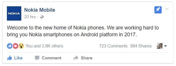Nokia chính thức xác nhận trở lại trong năm 2017 với nền tảng Android