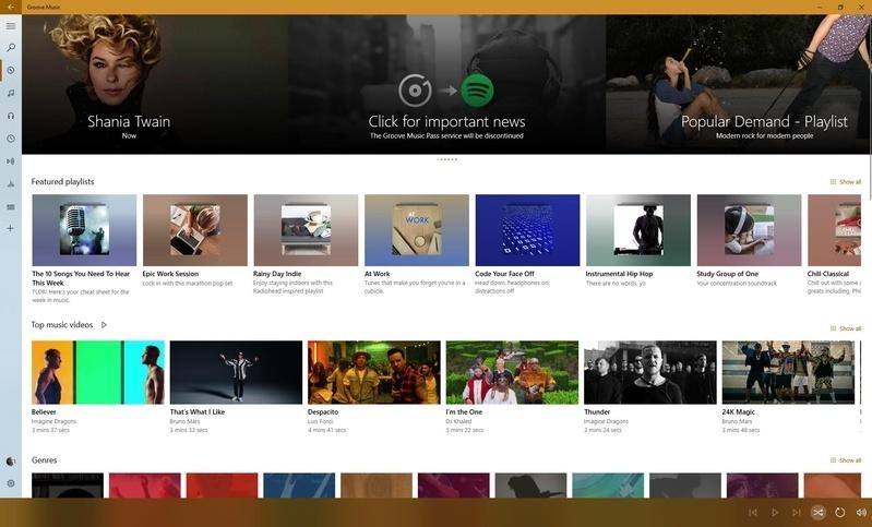 Microsoft chính thức loại bỏ dịch vụ Groove Music, bắt tay với Spotify