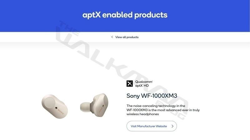 Tai nghe true-wireless Sony WF-1000XM3 sẽ được cập nhật thêm aptX HD